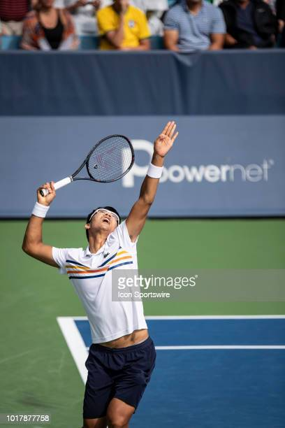 Hyeon Chung serves to Juan Martin Del Potro during Day 5 of the Western and Southern Open at the Lindner Family Tennis Center on August 16 2018 in...
