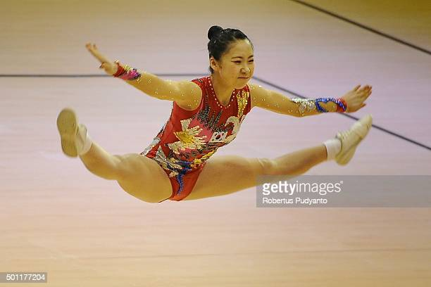 Hyeon Ji Kim of Korea competes in FinalAge Group 2 Individual Women during the 5th Asian Aerobic Gymnastics Championships at Nguyen Du Culture and...