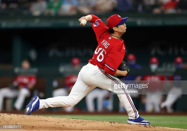 Hyeon-Jong Yang of the Texas Rangers throws against the Boston Red Sox in the fifth inning at Globe Life Field on April 30, 2021 in Arlington, Texas.