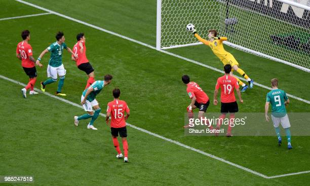 Hyeonwoo Jo of Korea Republic makes a save during the 2018 FIFA World Cup Russia group F match between Korea Republic and Germany at Kazan Arena on...