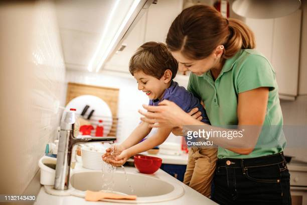 hygiene is on the first place - hand washing stock pictures, royalty-free photos & images