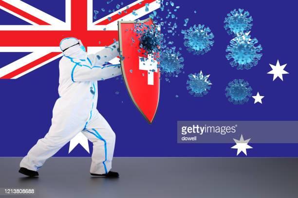 hygienic shield protecting from coronavirus,3d render - coronavirus australia stock pictures, royalty-free photos & images