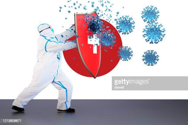 hygienic shield protecting from coronavirus,3d render - デイフェンス ストックフォトと画像