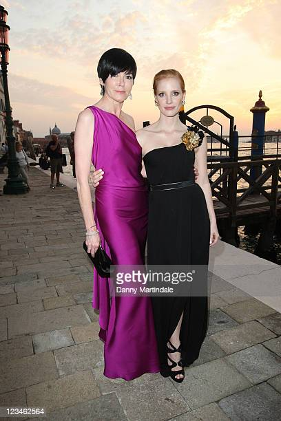 Hylda Queally and Jessica Chastain attend the 2011 GUCCI Award For Women In Cinema during the 68th Venice Film Festival at Hotel Cipriani on...