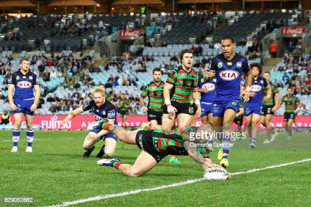 Hymel Hunt of the Rabbitohs scores a try during the round 23 NRL match between the South Sydney Rabbitohs and the Canterbury Bulldogs at ANZ Stadium...
