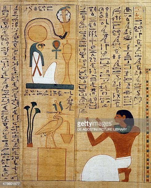 Hymn to the god Ra and to the sacred bird two forms of the Sun detail from the Mythological papyrus of Imenemsauf chief bearer of Amon Egyptian...