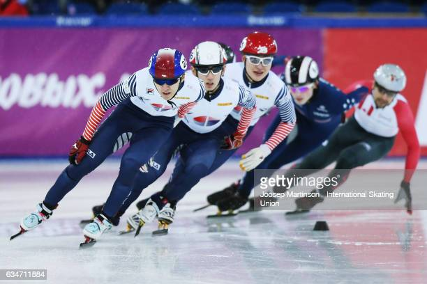Hyo Been Lee of Korea leads the pack in the Men's 1000m final during day one of the ISU World Cup Short Track at Minsk Arena on February 11 2017 in...