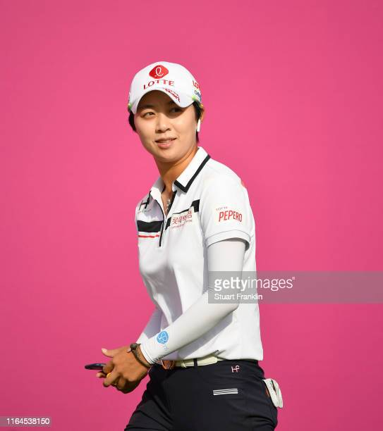 Hyo Joo Kim of Korea looks on the first hole during day 3 of the Evian Championship at Evian Resort Golf Club on July 27 2019 in EvianlesBains France