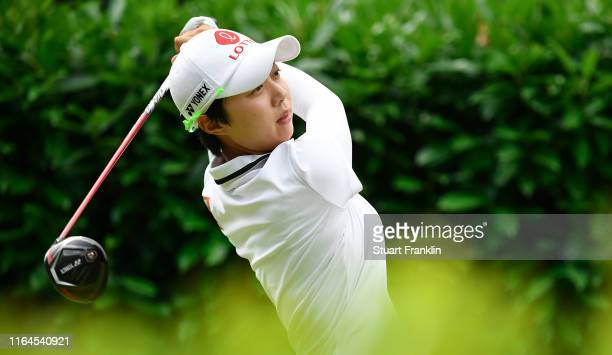 Hyo Joo Kim of Korea plays a shot during day 3 of the Evian Championship at Evian Resort Golf Club on July 27 2019 in EvianlesBains France