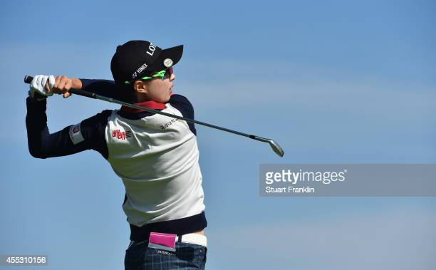 Hyo Joo Kim of Korea plays a shot during the second round of The Evian Championship at the Evian Resort Golf Club on September 12 2014 in...