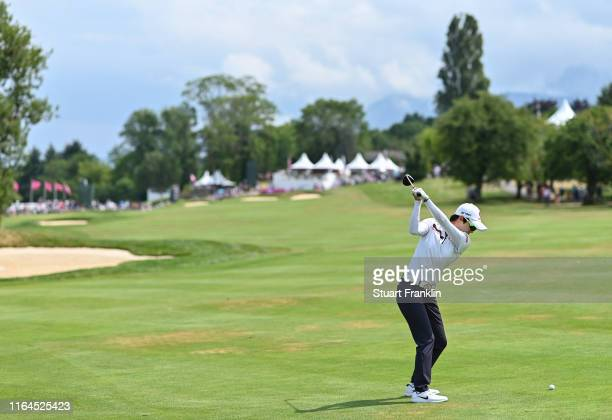 Hyo Joo Kim of Korea plays a shot on the 15th hole during day 3 of the Evian Championship at Evian Resort Golf Club on July 27 2019 in EvianlesBains...