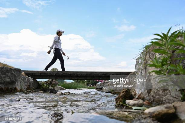 Hyo Joo Kim of Korea walks over a bridge during day 3 of the Evian Championship at Evian Resort Golf Club on July 27 2019 in EvianlesBains France