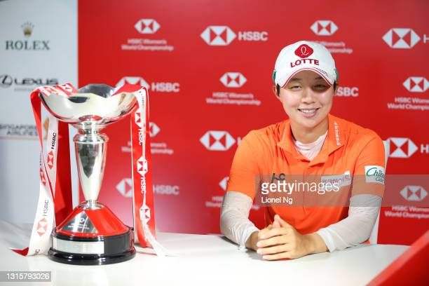 Hyo Joo Kim of South Korea attends a press conference after winning the tournament following the final round of the HSBC Women's World Championship...