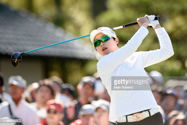 Hyo Joo Kim of South Korea hits her tee shot on the 1st hole during the final round of the TOTO Japan Classic at Seta Golf Course North Course on...