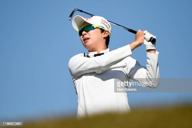 Hyo Joo Kim of South Korea hits her tee shot on the 5th hole during the final round of the TOTO Japan Classic at Seta Golf Course North Course on...