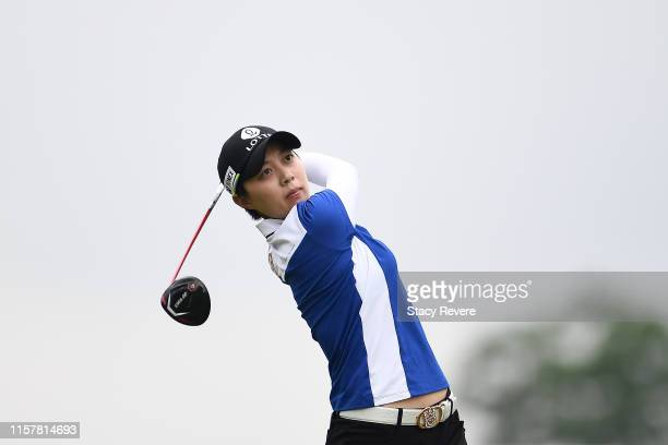 Hyo Joo Kim of South Korea hits her tee shot on the third hole during the final round of the KPMG PGA Championship at Hazeltine National Golf Club on...