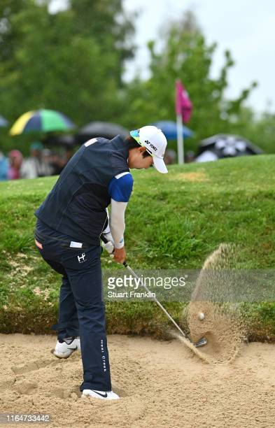 Hyo Joo Kim of South Korea in action on the 14th hole during day 4 of the Evian Championship at Evian Resort Golf Club on July 28 2019 in...