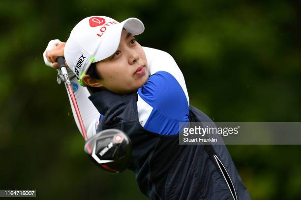 Hyo Joo Kim of South Korea in action on the 9th hole during day 4 of the Evian Championship at Evian Resort Golf Club on July 28 2019 in...