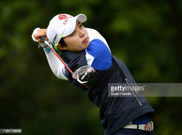 Hyo Joo Kim of South Korea in action on the 9th hole during day 4 of the Evian Championship at Evian Resort Golf Club on July 28, 2019 in...
