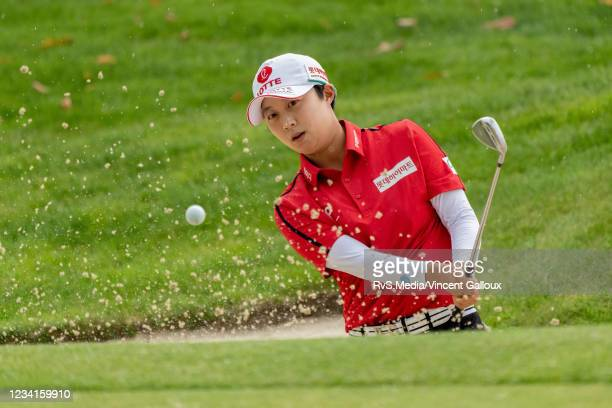Hyo Joo Kim of South Korea plays a shot from bunker during day three of the The Amundi Evian Championship at Evian Resort Golf Club on July 24, 2021...