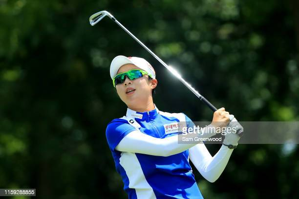Hyo Joo Kim of South Korea plays a shot on the third hole during the final round of the Walmart NW Arkansas Championship Presented by PG at Pinnacle...