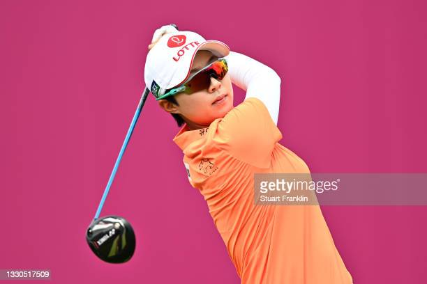 Hyo Joo Kim of South Korea plays her shot from the first tee during day four of the The Amundi Evian Championship at Evian Resort Golf Club on July...