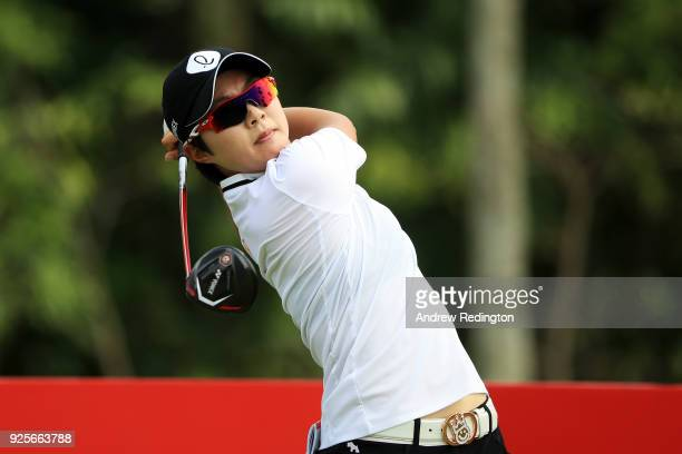 Hyo Joo Kim of South Korea plays her shot from the ninth tee during round one of the HSBC Women's World Championship at Sentosa Golf Club on March 1...