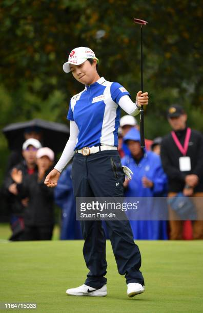 Hyo Joo Kim of South Korea reacts on the 8th green during day 4 of the Evian Championship at Evian Resort Golf Club on July 28 2019 in EvianlesBains...