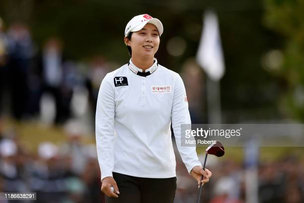 Hyo Joo Kim of South Korea smiles after holing out on the 18th green during the final round of the TOTO Japan Classic at Seta Golf Course North...