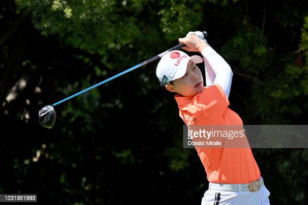 Hyo Joo Kim of South Korea tees off the 10th hole during the Round Two of the KIA Classic at the Aviara Golf Club on March 26, 2021 in Carlsbad,...