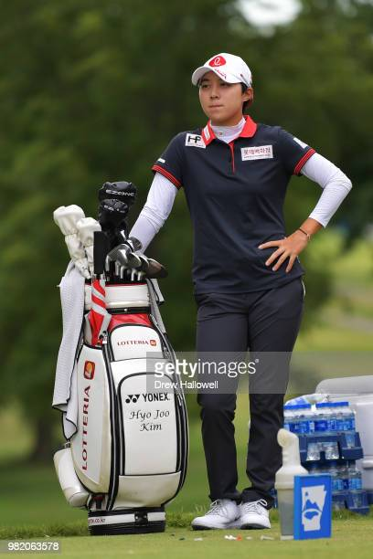 Hyo Joo Kim of South Korea waits on the third tee box during the second round of the Walmart NW Arkansas Championship Presented by PG at Pinnacle...