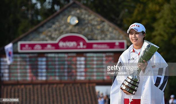 Hyo Joo Kim of South Korea with the trophy for winning The Evian Championship at the Evian Resort Golf Club on September 14 2014 in EvianlesBains...