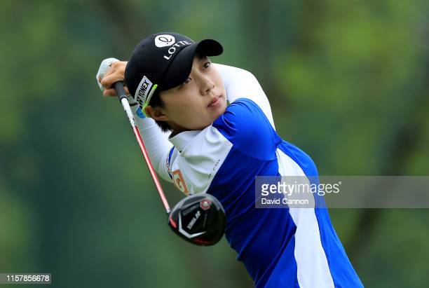 Hyo Joo Kim plays her tee shot on the par 5 15th hole during the final round of the 2019 KPMG Women's PGA Championship at Hazeltine National Golf...