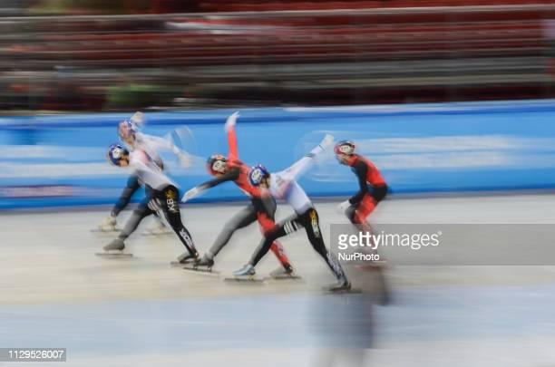 LIM Hyo Jun GIRARD Samuel LEE June SeoDUBOIS Steven ELISTRATOV Semen XU Hongzhi HWANG Dae Heon WATANABE Keitaduring finals of the men's 1500 m during...