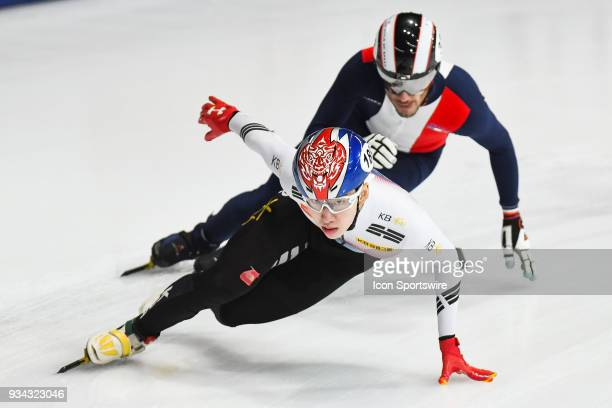 Hyo Jun Lim leads his race during the preliminary 1000m heat at the ISU World Short Track Speed Skating Championships on March 16 at MauriceRichard...