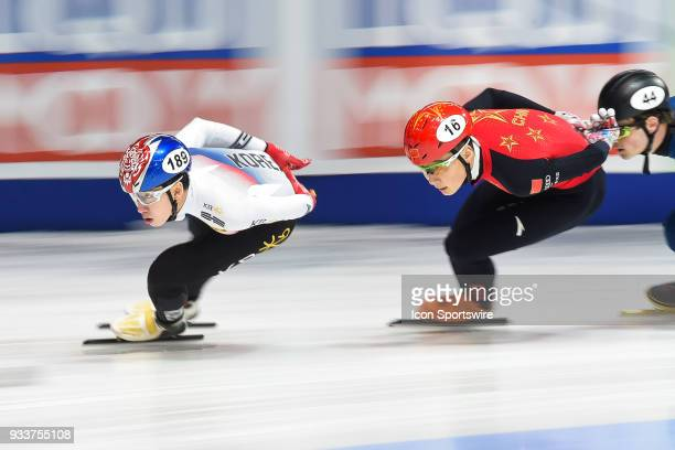 Hyo Jun Lim leads the 1000m Quarterfinals at ISU World Short Track Speed Skating Championships on March 18 at MauriceRichard Arena in Montreal QC