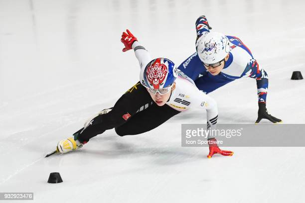 Hyo Jun Lim skates in front of Victor An during the preliminary 500m heat at the ISU World Short Track Speed Skating Championships on March 16 at...