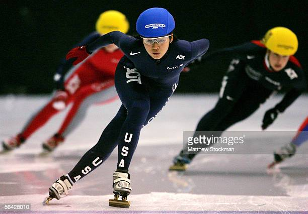 Hyo Jung Kim competes in the 500 meter heats to begin the US Short Track Speedskating Championships on December 13 2005 at the Berry Events Center in...