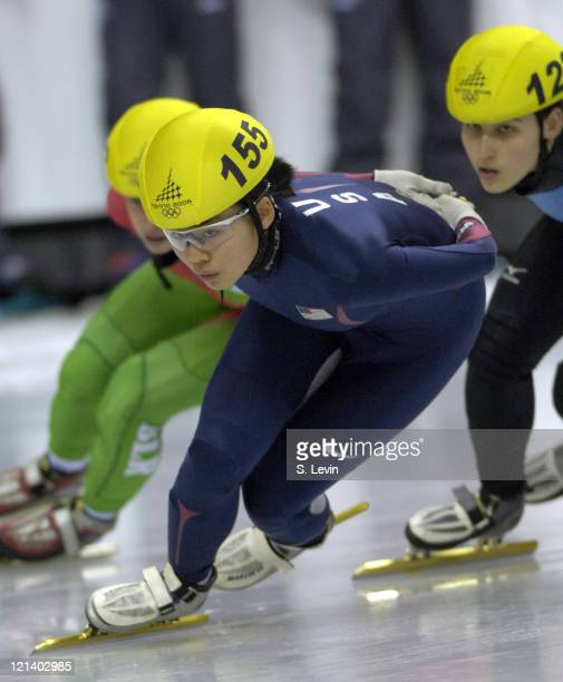 Hyo Jung Kim of the United States during the Women's 1000 m in the 2006 Winter Olympic Games at the Palavela in Torino Italy on February 22 2006