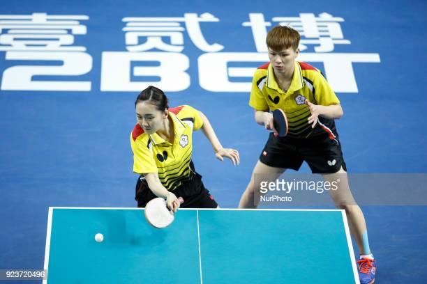 Hyo Sim CHA and Nam Hae KIM of Hong Kong China during ITTF Team World Cup match between Hyo Sim CHA and Nam Hae KIM of Hong Kong China and HsienTsu...