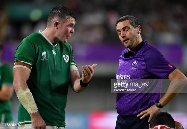 Hyogo , Japan - 3 October 2019; Peter O'Mahony of Ireland speaks to referee Jerome Garces during the 2019 Rugby World Cup Pool A match between...