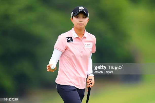 HyoJoo Kim of South Korea acknowledges fans after the birdie on the 18th green during the first round of the Yonex Ladies Golf Tournament at Yonex...