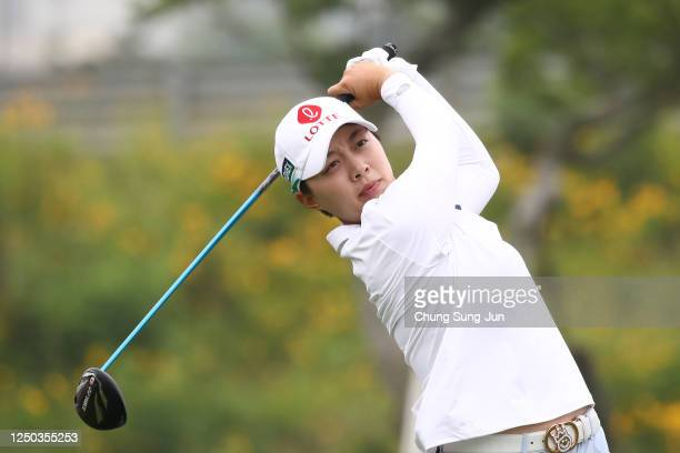 Hyo-Joo Kim of South Korea hits a tee shot on the 9th hole during the first round of the KIA Motors Korea Women's Open at the Bears Best CheongNa on...