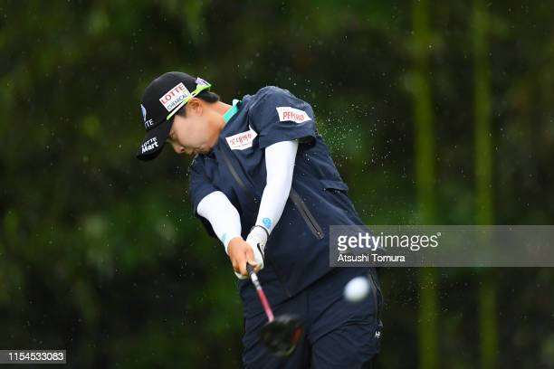 HyoJoo Kim of South Korea hits her tee shot on the 4th hole during the second round of the Yonex Ladies Golf Tournament at Yonex Country Club on June...
