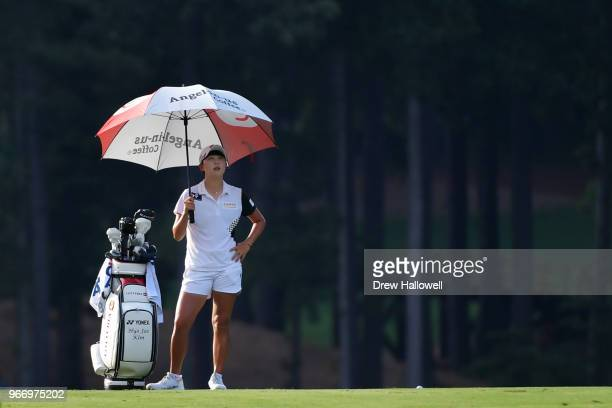 HyoJoo Kim of South Korea looks on from the third playoff hole during the final round of the 2018 US Women's Open at Shoal Creek on June 3 2018 in...