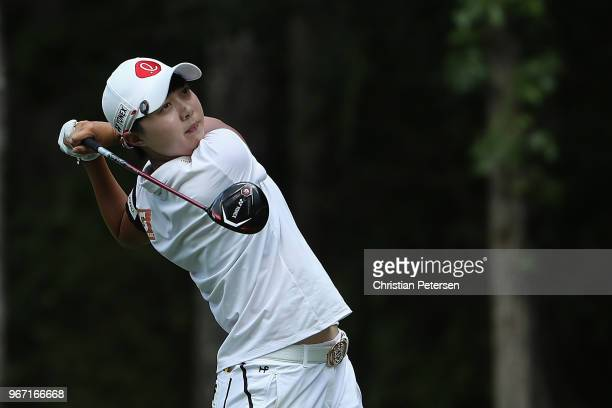 HyoJoo Kim of South Korea plays a tee shot on the 17th hole during the final round of the 2018 US Women's Open at Shoal Creek on June 3 2018 in Shoal...