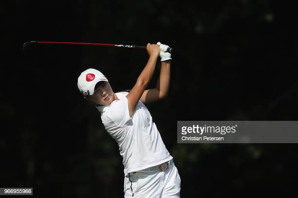 HyoJoo Kim of South Korea plays her second shot on the 17th hole during the final round of the 2018 US Women's Open at Shoal Creek on June 3 2018 in...