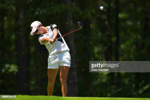 HyoJoo Kim of South Korea plays her tee shot on the second hole during the final round of the 2018 US Women's Open at Shoal Creek on June 3 2018 in...