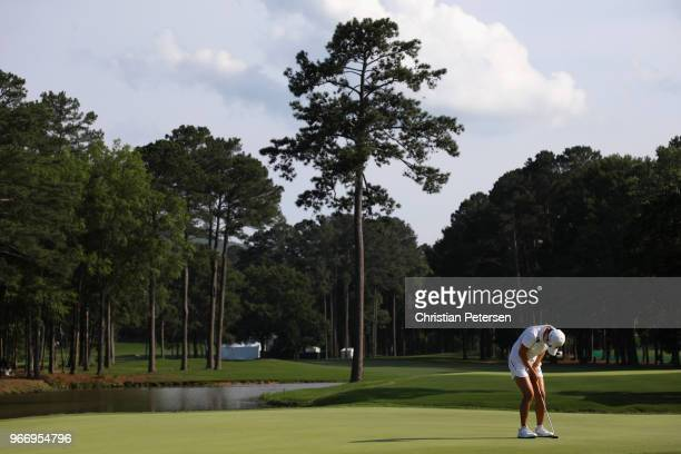 HyoJoo Kim of South Korea reacts to a missed putt on the 18th green during the final round of the 2018 US Women's Open at Shoal Creek on June 3 2018...