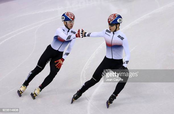 Hyojun Lim and Daeheon Hwang of South Korea during the Short Track Speed Skating Men's 500m Semifinal 2 on day thirteen of the PyeongChang 2018...